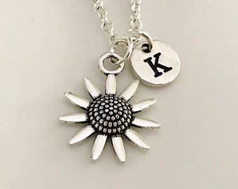 Sunflower necklace, Sunflower jewelry, Best Friend necklace, Sunflower pendant, Silver Sunflower silver, Initial silver, Hand stamped