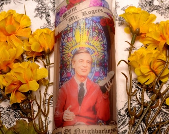 Mr Rogers Celebrity Prayer Pillar Candle Veladora Day Of The Dead Altar Halloween Dia De Los Muertos