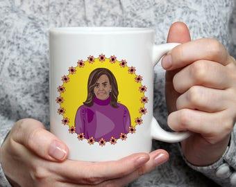 Michelle Obama mug, Michelle Obama art, Obama art, Obama mug, Obama coffee cup, Michelle coffee cup, Michelle Obama coffee mug, Michelle art