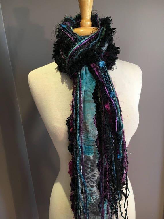 Fringie Scarf, Mistify, Knotted handmade Scarf, Purple blue black fringe scarf, boho fashion, accessories, yarn scarf, stripes, tribal, yarn