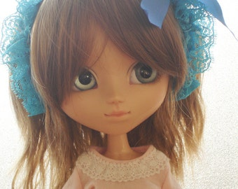 Lace-covered metal headband, turquoise blue, for Pullip