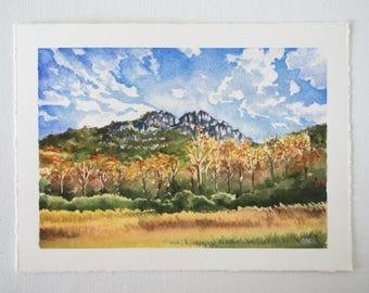 Seneca Rocks Watercolor Print - WV Landscape Print - Landscape Watercolor Illustration