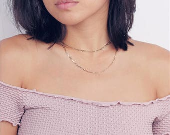 Gold Layering Figaro Choker Necklace - Delicate Gold Vintage Jewelry - Layering Necklace