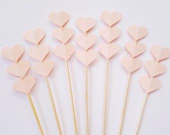 Set of 24Pcs - Peach Triple Heart on 6inch OR 8inch Skewer / Stir Stick- Birthday, Baby Showers, Weddings, Drink, Party Stir Stick