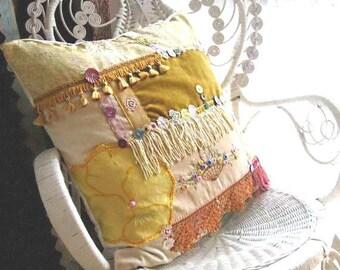 Large Honey & Lavender Cushion, Boho Pillow, Cover, Antique velvet, Silk Embroidery, Bird, Fringe, Pillow, Boho Decor, Home