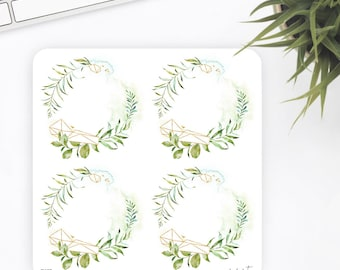 FW67 | Wreath Sticker | Geometric Sticker | Watercolor Sticker | Flower Sticker | Planner Stickers | Bullet Journal Stickers