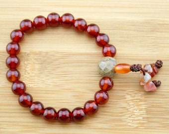 Carnelian Buddhist Mala Bracelet with Antique Glass | 8mm | Yoga Jewelry | Meditation Bracelet | Wrist Mala | Free Shipping