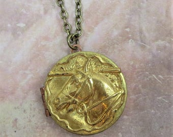 Horse Locket Pendant Necklace Equestrian Jewelry Vintage Brass Kentucky Derby