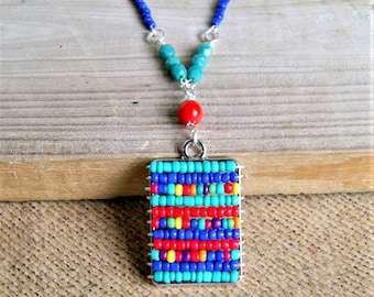 rainbow beaded pendant, colorful jewelry, boho jewelry, seed bead necklace, long beaded necklace