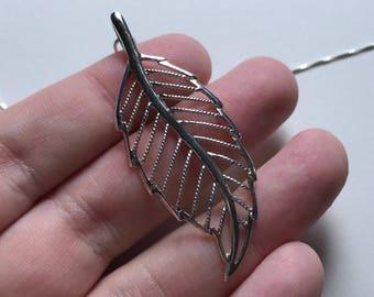 Large Vintage 925 Sterling Silver Leaf Filigree Pendant Necklace