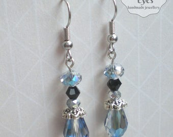 Long blue earrings Blue boho earrings Victorian earrings Blue vintage earrings Vintage crystal earrings Light blue earrings Aquamarine blue