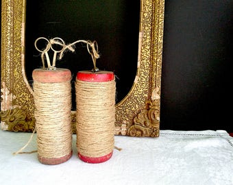 2 x Vintage Indian Spools with Yarn, Large - Two Large Spools with Yarn, Indian, Handmade Scissors x 2