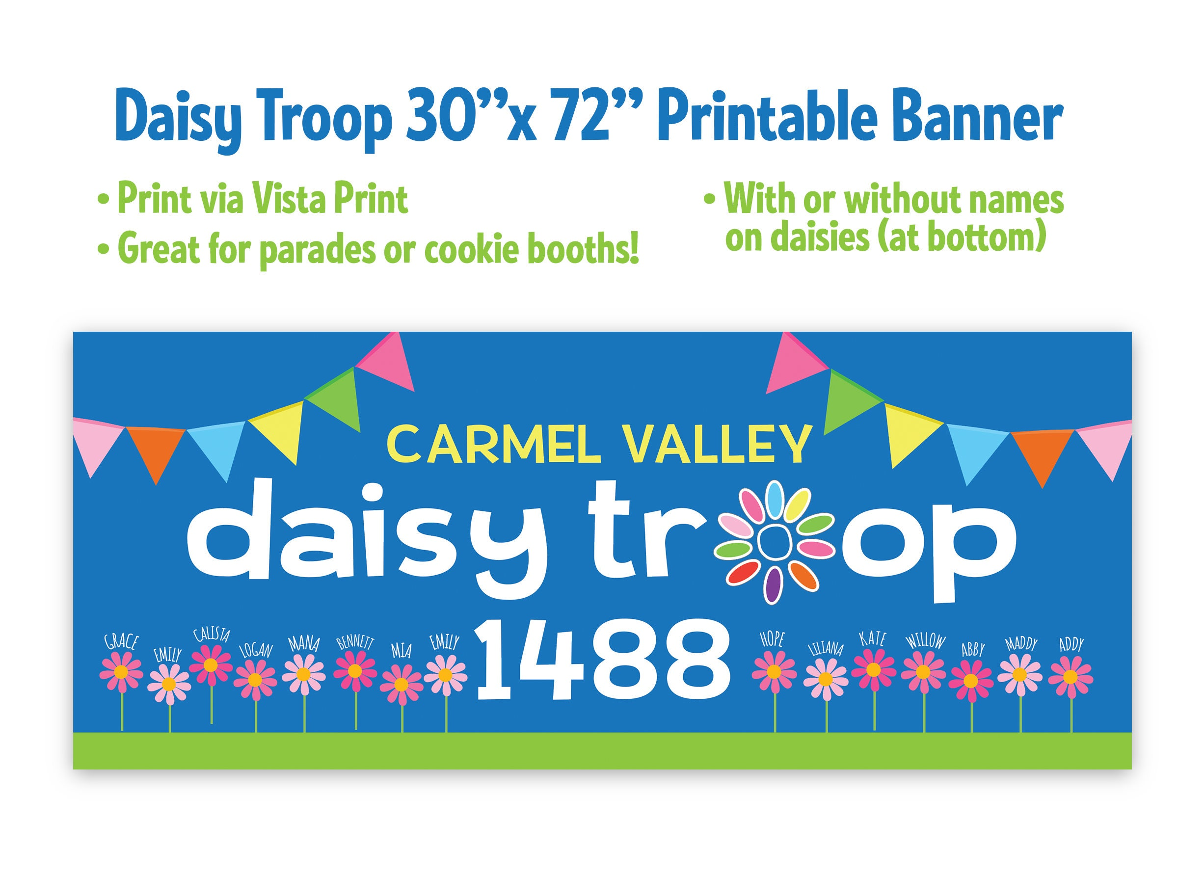 Printable Girl Scout Daisy Troop Banner 30 x 72