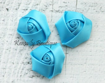 3 Pack Turquoise Satin Rosette Flower, Fabric Flower, Craft Supplies, DIY Flower, DIY supplies, Embellishment