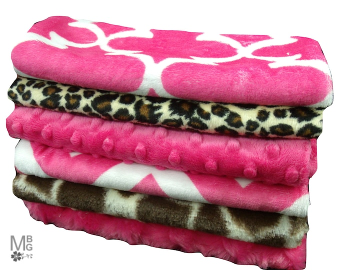 Pink and Brown Baby Burp Cloths, Minky Layette Accessories, Pink and Brown Burpee Rags