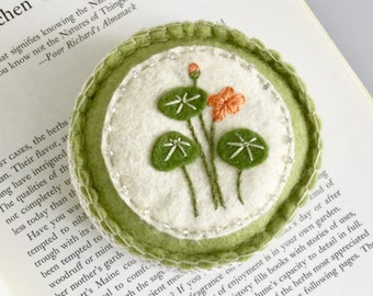 Embroidered Felt Pincushion Nasturtium Wool Felt Pin Keep Herbs
