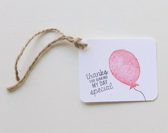 BALLOON favour tags, gift tags, thank you tags, carnival, circus BALLOON favour bag tags X 10