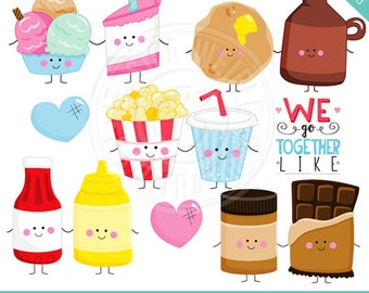 Perfect Pair V3 Cute Digital Clipart - Commercial Use OK - Things that Go Together, Pairs, Valentine Graphics, Valentine Clip art