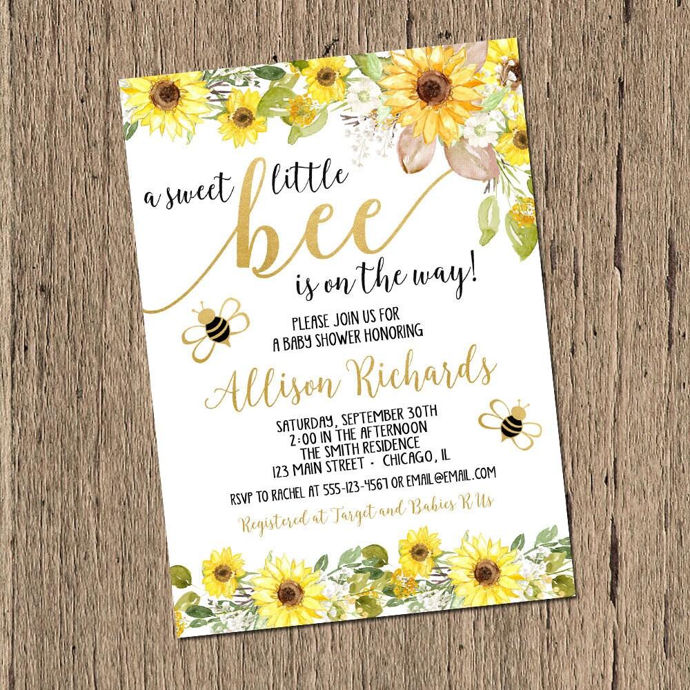 Bee baby shower invitation bumble bee baby shower bumblebee