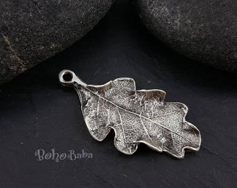 Silver Leaf Pendant, Leaf Charm, Oak Leaf Pendant, Silver Charms, Jewelry Supplies, Silver Leaf