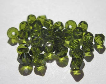 20 genuine 3 mm olivine green (121) swarovski crystal bicones