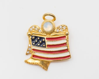 Kenneth Cole (KC) Angel Pin/Brooch with American Flag
