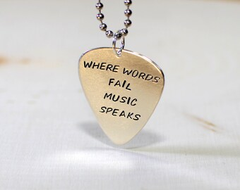Where words fail music speaks sterling silver guitar pick necklace - NL700