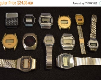 ON SALE 12 Vintage Digital watches for parts or steampunk AS-Is