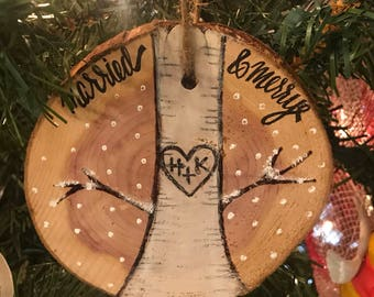 Our First Christmas Wedding Cedar Disc Ornament- 2-Sided