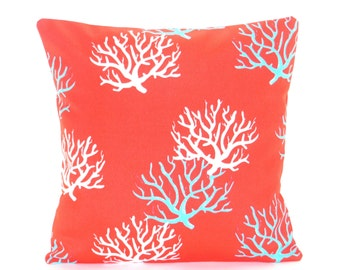 OUTDOOR Red Aqua Throw Pillow COVER Nautical Cushion COVER Coral Beach Pillow Coastal Cushion Cottage Pillow Patio Deck Outdoor Porch Pillow