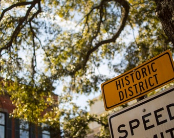 Historic District sign in Savannah, Georgia Instant Digital Download Photo, Print at Home, Home Decor, Wall Art, Stock Photo, Printable