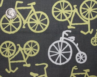Bicycles in Citron Gray - Michael Miller - 1 Yard