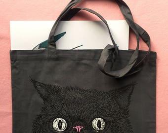 Charcoal Grey Furious Cat Cotton Market Tote Bag