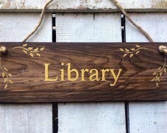 & Library door sign | Etsy