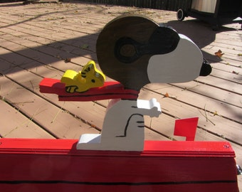 Handmade Custom Painted  Red Baron dog and bird stake or mailbox topper
