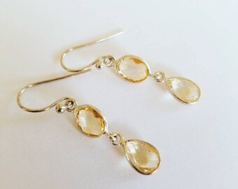 Yellow Citrine Sterling Silver 925 Earrings