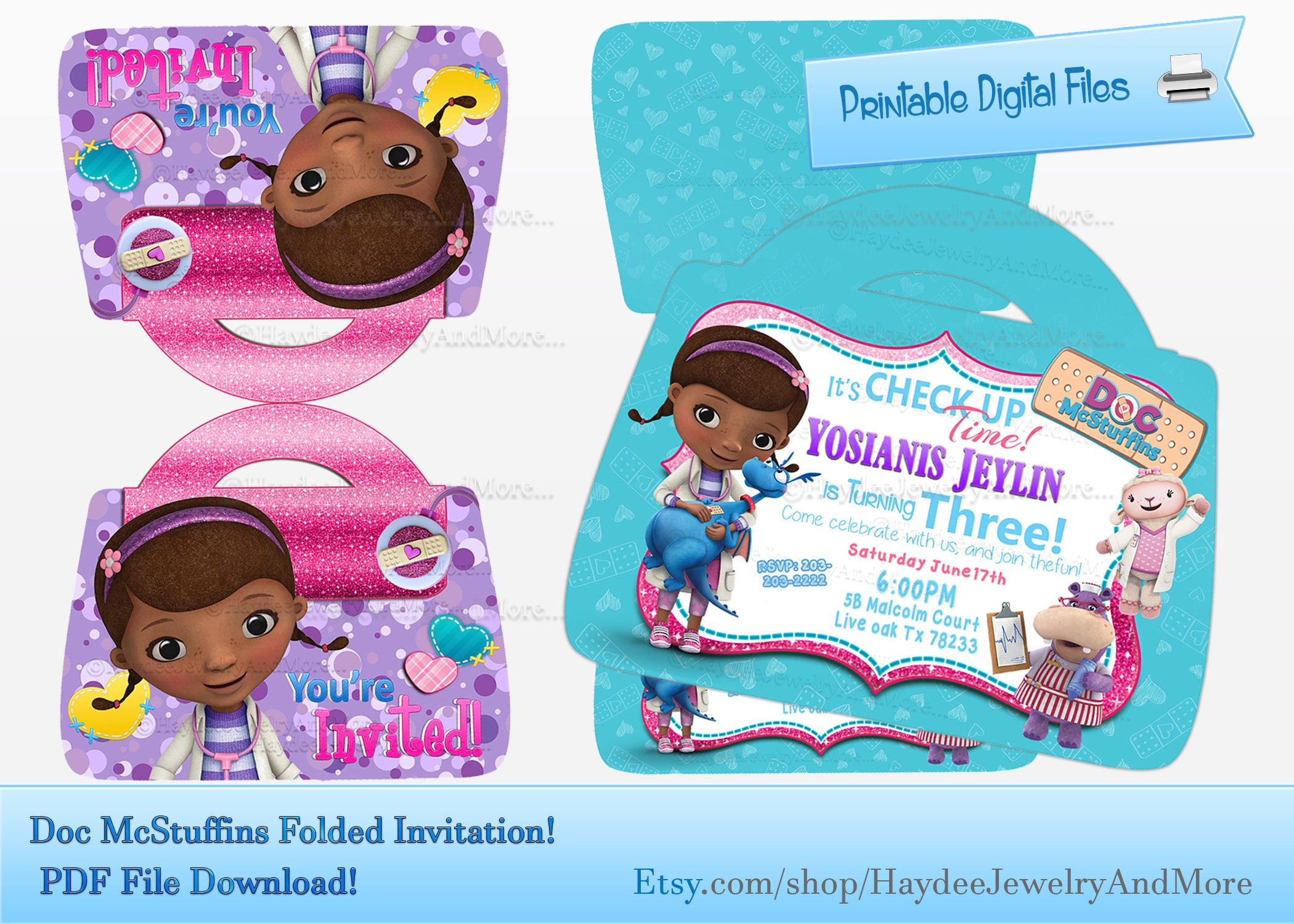 Doc McStuffins Folded Doctor Bag Invitation-Birthday Invitation-Doc ...