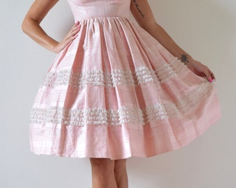 Vintage 50s Powder Puff Pink Polished Cotton Lace Ruffled New Look Party Dress (size xs, small)