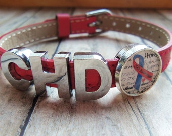 CHD Awareness Ribbon of hope slide charm bracelet