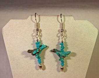 Turquoise Roadrunner Earrings # 982