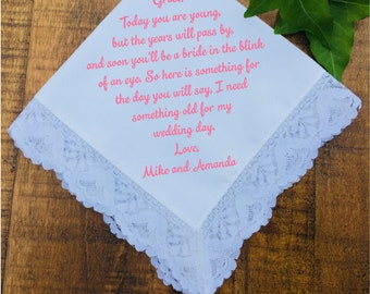 Flower Girl Gift, Wedding Handkerchief, Wedding Favors, Personalized Wedding Gift, Wedding Party Gifts PRINTED Lace Handkerchief (H 005)