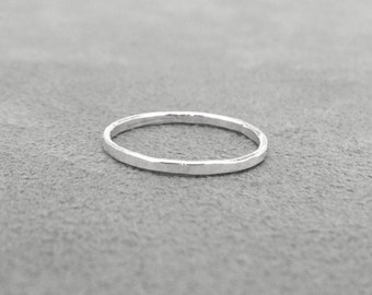 Sterling Silver Stacking Ring, Single Stacking Ring, Hammered Stacking Rings, Thin Stacking Ring, Sterling Silver Jewelry
