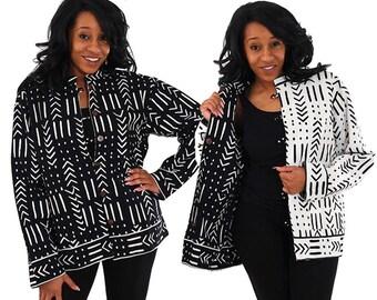Black & White Reversible MudPrint Jacket -Plus Size