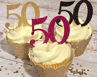 Glitter Birthday Age Cupcake Toppers  • Kate Spade Colors • Customize Age • 50th Birthday Party Decorations