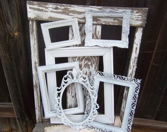 Set Of 6 Distressed Shabby chic Frames, Rustic, Frame Set, Antique White Wall Decor