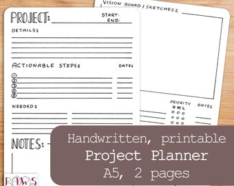 Printable Project Planner, Bullet Journal, A5 Planner Inserts, Project Management, Productivity, Project Tracker, Work Planner, Template