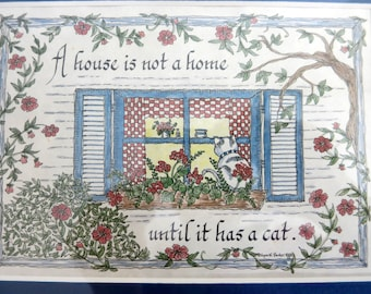 "Framed Picture of a Cat, Print of a Cat Looking in a Window, Calligraphy, ""A House is Not a Home Until is Has a Cat, Framed Cat Print -V258"