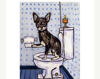 25% off chihuahua art - Chihuahua  - dog - art - print - poster - gift - bathroom - 13x19 print - modern folk art