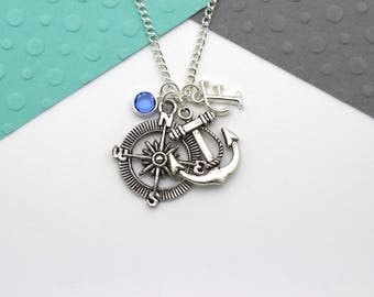 Travel Personalized Charm Necklace, Compass and Anchor Necklace, Wanderlust Personalised Swarovski Birthstone & Initial Name Gift