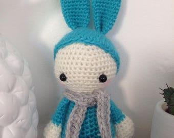 "Little Pixie Doll ""lutinou"" turquoise rabbit"